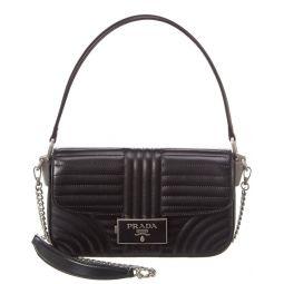Prada Diagramme Embleme Leather Shoulder Bag