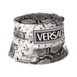 Versace Snake-Embossed Leather Bucket Hat