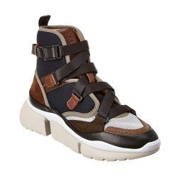 Chloe Sonnie Suede & Mesh High-Top Sneaker