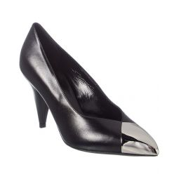 Celine Triangle Heel Metallic Toe Leather Pump