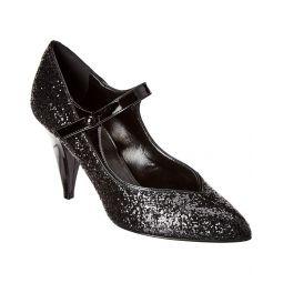 Celine Triangle Heel Glitter & Patent Pump