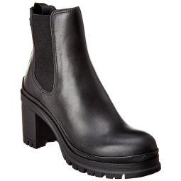 Prada Leather Chunky Heel Ankle Boot