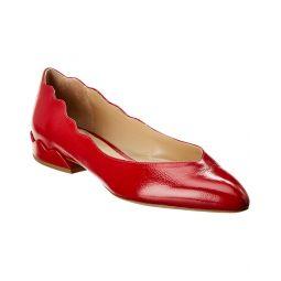 Chloe Laurena Scalloped Leather Ballerina Flat