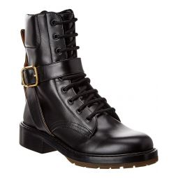 Chloe Diane Buckle Leather Combat Boot