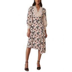Reiss Emmi Print Mix Side Split Dress