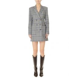 Tibi Lucas Suiting Double-Breasted Wool-Blend Blazer Dress