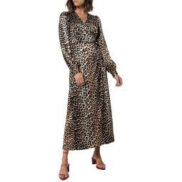 Ganni 3/4-Sleeve Wrap Silk-Blend Maxi Dress