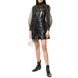 Ganni Button Front Leather Mini Dress
