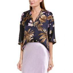 Vince Tropical Garden Silk Pj Shirt