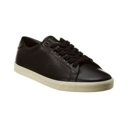 CELINE Womens Leather Triomphe Low Top Sneakers Shoes Black