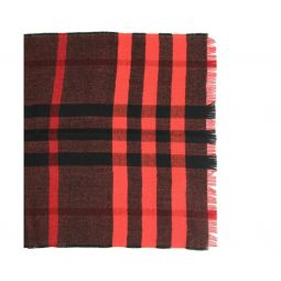 Burberry Womens Military Red Reversible Color Check Wool Scarf 3968118