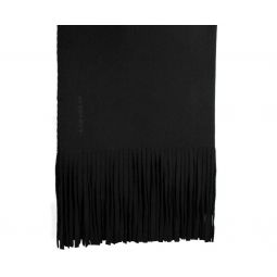 Burberry Womens Black Solid Felted Fringe Wool / Cashmere Scarf Shawl 3995023
