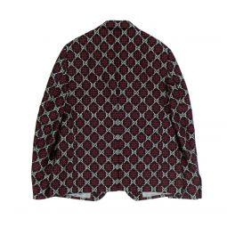 GUCCI Navy Cotton GG Diamond Blazer Jacket