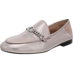 Helena Womens Leather Metallic Fashion Loafers