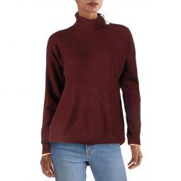 Womens Cashmere Button Neck Sweater