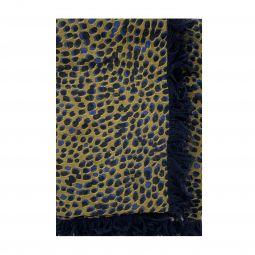 Chloe Womens Cashmere Silk Spotted Scarf Beige Blue