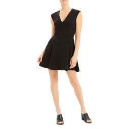 Womens Pleated V-Neck Mini Dress