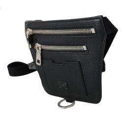 Dolce & Gabbana Black Leather Flat Belt Waist Fanny Pack Men Borse Bag