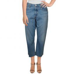Wedgie Womens Whisker Wash Frayed Hem Straight Leg Jeans