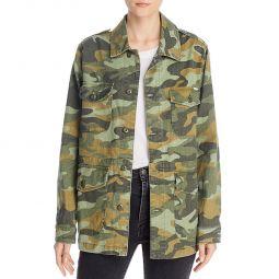 Mother Womens Loose Veteran Camouflage Linen Blend Field Coat