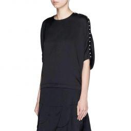 Chloe Pearl Embroidery Silk Shirt