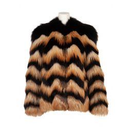 Lanvin Womens Chevron Zig Zag Fox Fur Coat