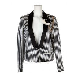 Lanvin Womens Black & White Striped Floral Brooch Jacket