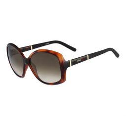 Chloe Womens Oval Logo Sunglasses Tortoise Brown