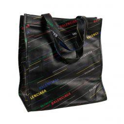BALENCIAGA Black Leather Multicolored Logo Tote Bag