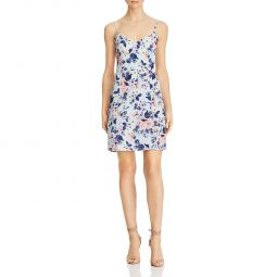 French Connection Womens Verona Floral Faux Wrap Mini Dress