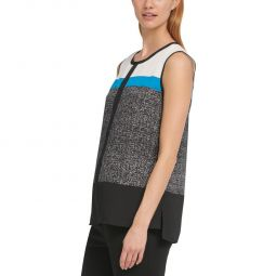DKNY Womens Colorblock Keyhole Camisole Top