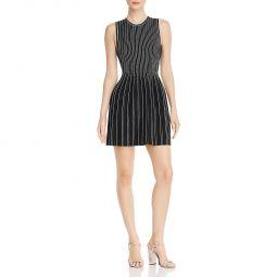 Theory Womens Striped Stretch Mini Dress