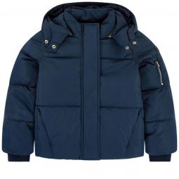 Padded coat with a removable hood