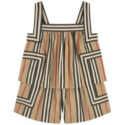 Striped poplin shortall
