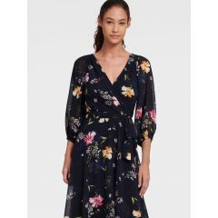 FLORAL FAUX WRAP DRESS WITH BALLOON SLEEVE