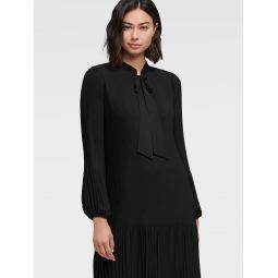 PLEATED TIE-NECK SHIFT DRESS