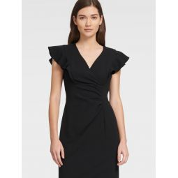 RUFFLE V-NECK SHEATH DRESS