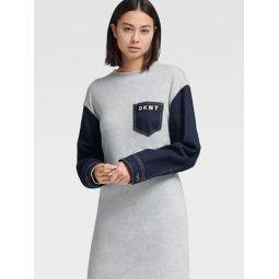 DENIM DRESS WITH LOGO PATCH POCKET