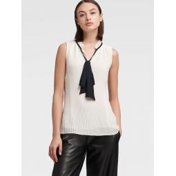 PLEATED SLEEVELESS TOP WITH TIE NECK