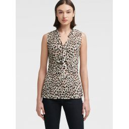 PLEATED LEOPARD TOP WITH TIE NECK