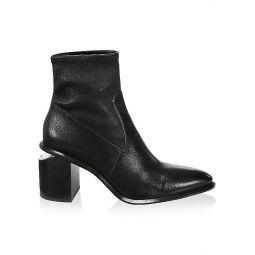 Anna Rhodium & Stretch-Leather Sock Boots