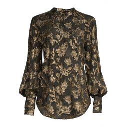 Boleyn Metallic Floral Jacquard Blouse