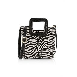 Mini Shirley Zebra-Stripe Leather Tote