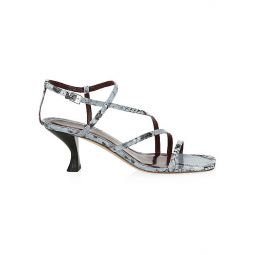 Gita Snakeskin-Embossed Leather Sandals