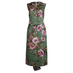 Metallic Floral Jacquard Midi Dress