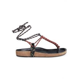 Loreco Ankle-Wrap Braided Thong Sandals