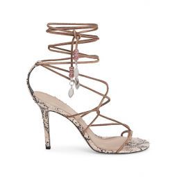 Adeia Ankle-Wrap Snakeskin-Embossed Leather Thong Sandals