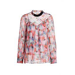 Bold Geometric Pleated Shirt