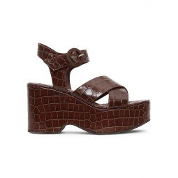 Jane Croc-Embossed Platform Wedge Sandals
