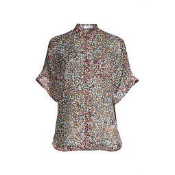 Alvia Short-Sleeve Silk Blouse